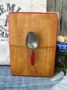 Vintage Wood Bread Cutting Board And Sugar Scoop Worn Red Milk Paint