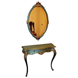 Antique French Entry Table Wall Mirror Set Two Drawers Teal And Gold Vanity