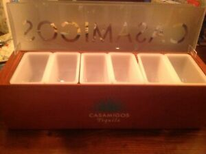 Casamigos Wooden Tequila Bar Condiment Dispenser Caddy Plus Napkin straw Holder