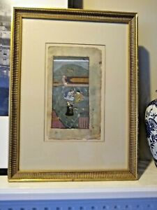 Antique Indo Persian Islamic Watercolor 19th Century Framed Matted