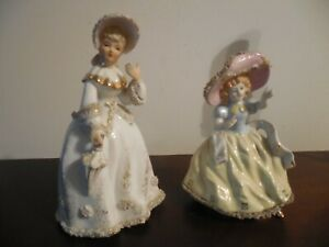 Two Vintage Lady S Porcelain Figurines One Lace Decoration Japan Handpainted