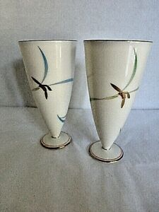 Vtg Japanese Asian Porcelain Wine Saki Goblets Cups Enamel Marriage Free Ship Us