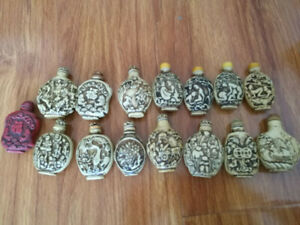 15pcs Collectable Old Exquisite Antique Bone Meal Different Snuff Bottle
