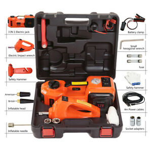 5ton Lift 45cm 3in1 Car Electric Floor Jack Tire Inflator Pump Electric Wrench