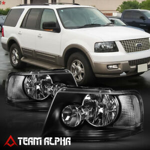 Fits 2003 2006 Ford Expedition black clear Crystal Corner Headlight Headlamp