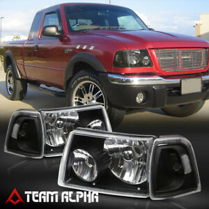 Fits 2001 2011 Ford Ranger Black Clear Crystal Corner Headlight Headlamp Lamp