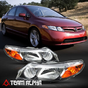 Fits 2006 2011 Honda Civic 4dr black clear amber Corner Headlight Headlamp Lamp