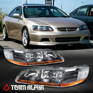 Fits 1998 2002 Honda Accord Black Clear Amber Corner Headlight Headlamp L