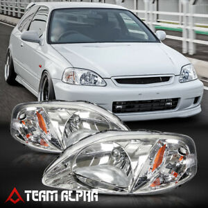 Fits 1999 2000 Honda Civic Ek Chrome Clear Amber Corner Headlight Headlamp Lamp