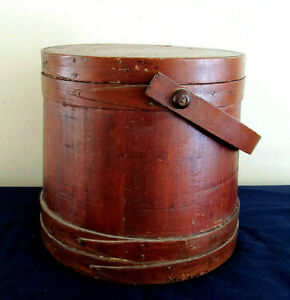 Antique Primitive Large Firkin Sugar Bucket W Lid And Pegged Swing Handle