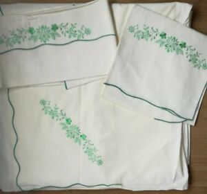 Vintage Italian Flat Sheet Pillowcases With Emerald Green Embroidery