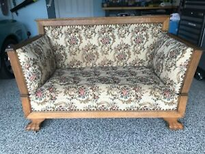 Antique Convertible Sofa Couch Quarter Sawn Oak Unusual