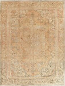Persian Wool Rug Hand Knotted Distressed Oriental Floral Muted Area Rug 9 X 12