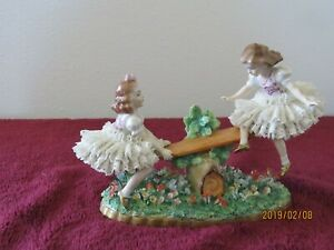 Dresden Two Girls On Teeter Totter Lace Figures