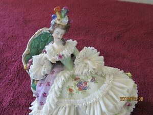 Dresden Lady Laying On Chaise Lace Porcelin Figure