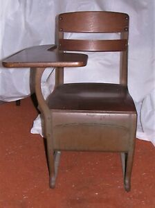 Vintage School Chair Wood Metal W Drawer Writing Surface Pickup Only Nyc