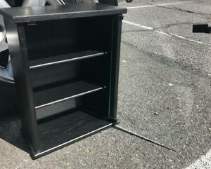 Standing Display Show Case Black Wood Glass Excellent Shape