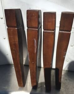 4 Vtg Architectural Salvage Wood Tapered Cabriole Furniture Legs 17 5 Repurp