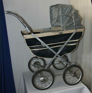 Vintage Antique Vintage Hedstrom Blue Doll Size Buggy Baby Carriage