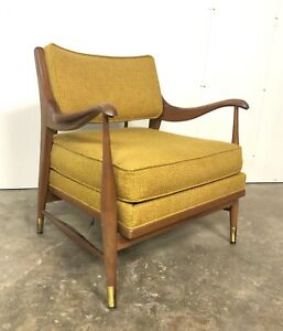 Mid Century Modern Walnut Upholstered Curved Arm Lounge Chair