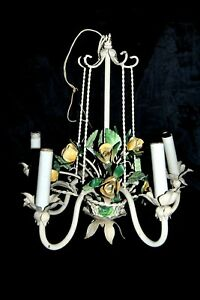 Vintage Italian Tole Chandelier Roses 5 Arms Hanging Light Fixture Mid Century