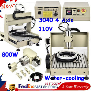 800w Cnc Router 3040t 4 Axis Engraver 3d Cutter Wood Drill Mill Machine Desktop