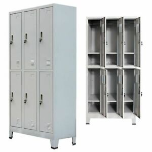 Metal Locker Cabinet Storage With 6 Compartments Bathroom Gym Organizer E8d2