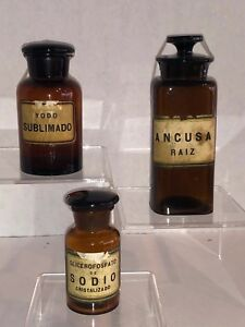 3 Antique Pharmacy Amber Bottles Lids Apothecary Medicine Argentina 30 Off
