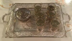 Vintage Persian 84 Silver Tea Set Tray W 6 Glass Holders Glasses