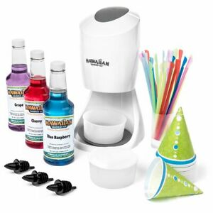 Shaved Ice Maker Machine Crushed Snow Cone Supplies Kit Syrups Cups And Straws
