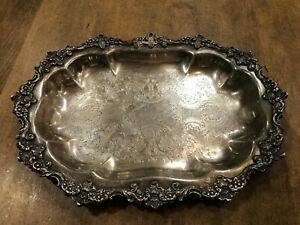 Antique Vintage 1930s Crown Silver Company Ornate Silver Plate Platter Rare