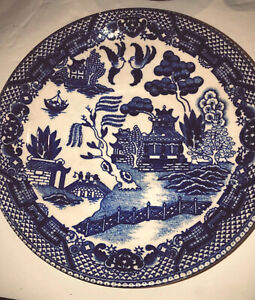 Antique Blue Willow 2 Plates 6 Blue White Handpainted Japan Not Transferware
