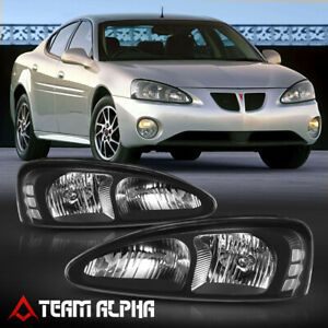 Fits 2004 2008 Pontiac Grand Prix black clear crystal Corner Headlight Headlamp