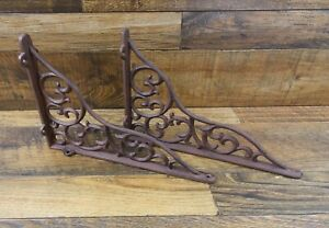Set Of 2 Vintage Look 11 X 7 5 Cast Iron Vine Design Shelf Brackets Braces