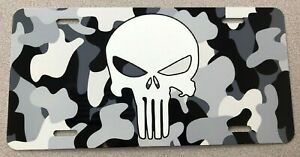 Punisher Camo Black And White Aluminum Front License Plate