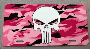 Punisher Camo Pink And White Aluminum Front License Plate