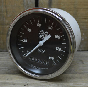 Mooneyes 140 Mph Speedometer Rat Hot Rod Gasser Street Custom Moon Gauge Vtg Car