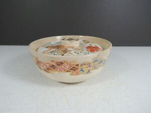 Antique China Lidded Bowl Gold Floral Japanese Chinoiserie Covered Tea Bowl