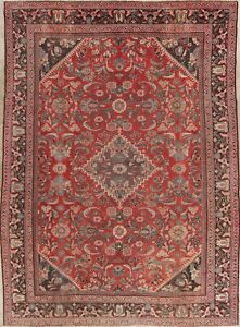 Antique Mahal Persian Wool Rug Hand Knotted Floral Oriental Red Area Rug 9 X 12