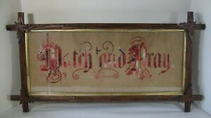 Antique Black Forest Adirondack Picture Frame Needlepoint Watch And Pray