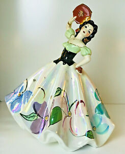 Vintage Large 17 Tall Colorful Ceramic Spanish Lady Dancer Statue Figurine