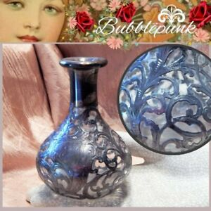 Antique Alvin Ornate Chased Sterling Silver Overlay Glass Perfume Bottle 4