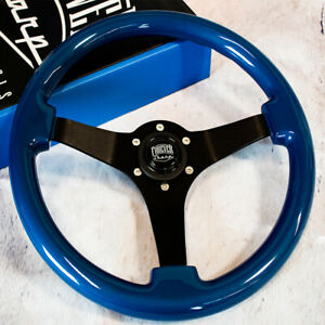 14 Blue Jdm Steering Wheel With Brushed Black Spokes And Horn Button