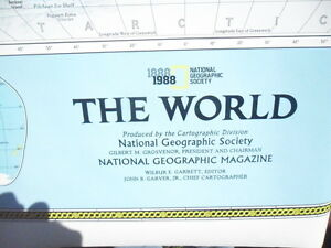 Large National Geographic The World 1888 1988 Wall Map Chart Cenntenial 100 Yrs