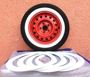 4x 15 Vtg Classic American Style Slim View Rubber White Wall Vw Beetle Bug Pre