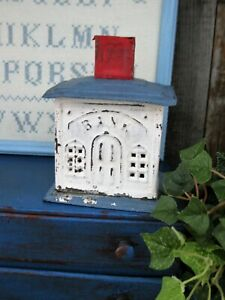 Early Antique Tin House Bank Red White And Blue Milk Paint