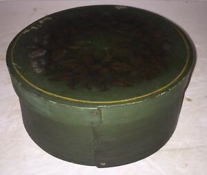 Antique Shaker Old Green Paint Bentwood Pantry Box Aafa Stencil