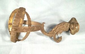 Antique Early 19th Century Fancy Brass Ships Oil Lamp Wall Mount Gimbal