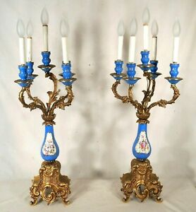 Vintage Pair Of Early 20th Century Porcelain And Brass 5 Arm Rococo Candelabra