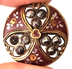 Antique Metal Button Pretty Pierced Brass With Painted Flowers Cut Steels